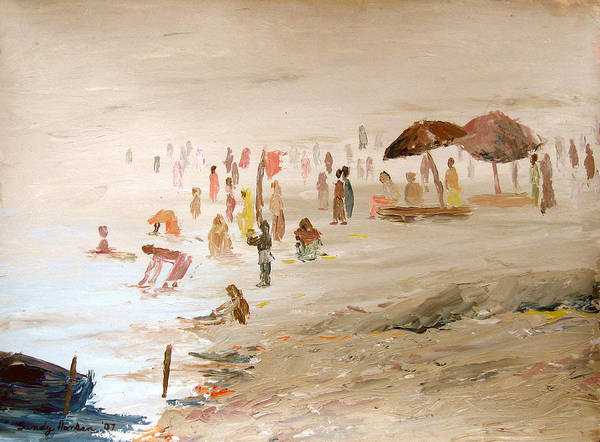 Varanasi Art Print featuring the painting Foggy Morning At The Ghats by Art Nomad Sandra Hansen