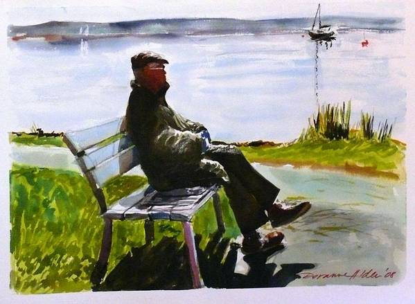 Lakeside Art Print featuring the painting For My Dad - With Love by Doranne Alden