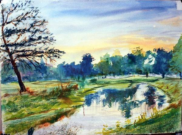 Watercolor Art Print featuring the painting Forest Park At Dawn by Horacio Prada