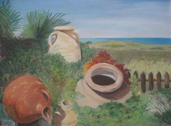 Beach Art Print featuring the pastel Four Little Brown Jugs by Diane Larcheveque