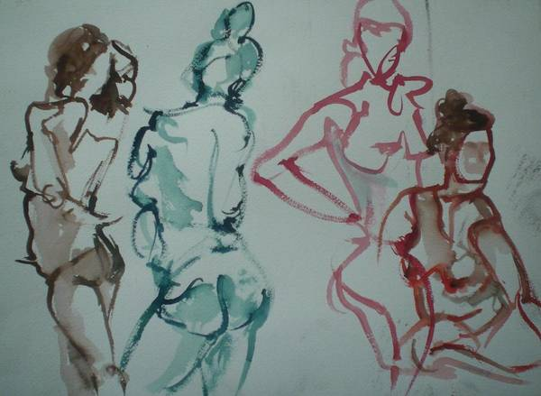 Nude Figures Art Print featuring the painting Four Nude Figures by Aleksandra Buha