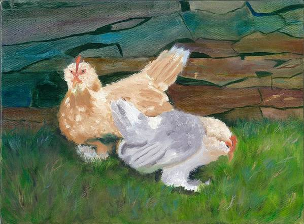 Chickens Bantams Countryside Stonewall Farm Art Print featuring the painting Fowl Play by Paula Emery