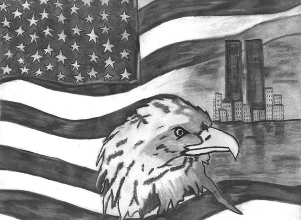 Eagle Art Print featuring the drawing Freedom by Katina Cote