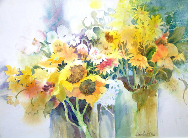Contemporary;watercolor;sunflowers;daisies;floral; Art Print featuring the painting Fresh-picked by Lois Mountz