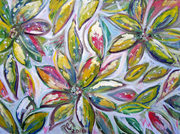 Leaves Art Print featuring the painting Frosted Leaves And Snow by Patricia Taylor