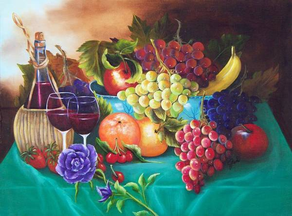 Oil Painting Art Print featuring the painting Fruit And Wine On Green Cloth by Joni McPherson