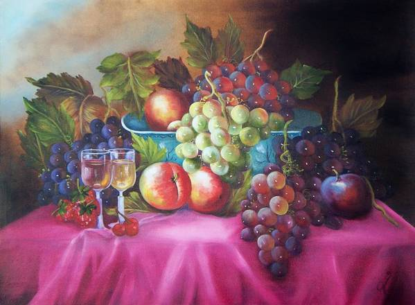 Oil Painting Art Print featuring the painting Fruit And Wine On Mauve Cloth by Joni McPherson