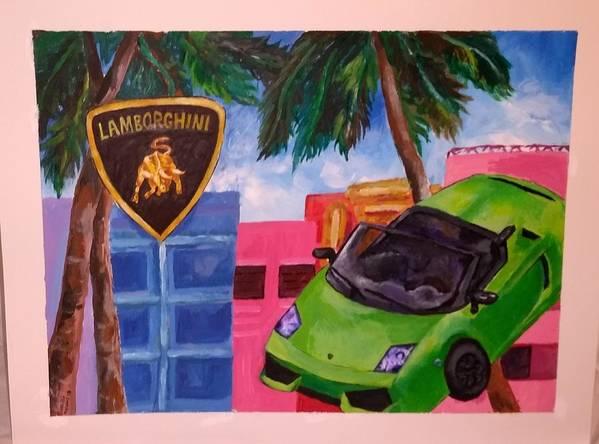 Acrylic Lamborghini Gallardo Paint Miami Art Print featuring the painting Gallardo by Gabriela Magras