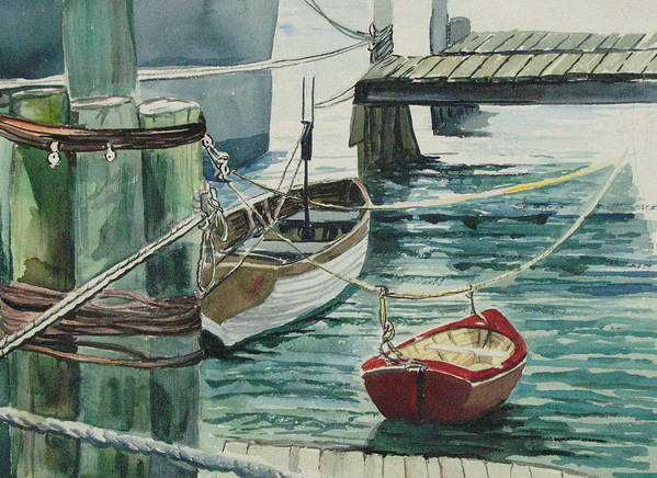 Galveston Art Print featuring the painting Galveston Boats Watercolor by Judy Loper