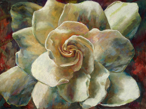 Billie J Colson Floral Art Art Print featuring the painting Gardenia by Billie Colson