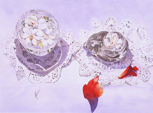 Gardenias Art Print featuring the painting Gardenias And Lace by Leah Wiedemer