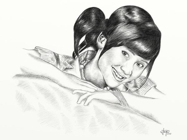 Drawing Art Print featuring the digital art Gita Gutawa Young Singer From Indonesia by Yudiono Putranto