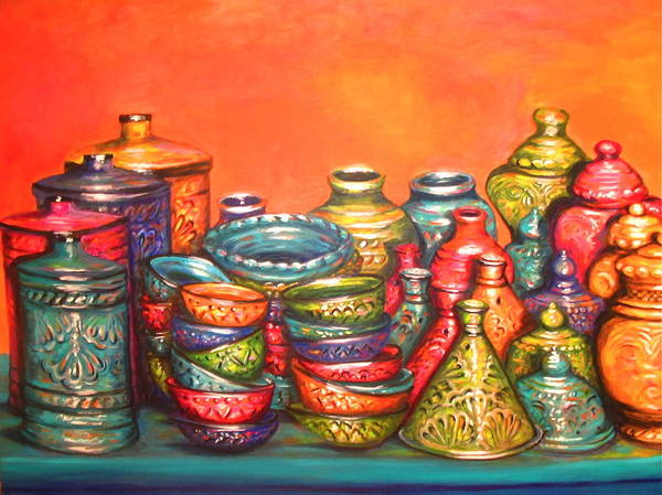 Painting Art Print featuring the painting Glazed Moroccan Pots by Yvonne Ayoub
