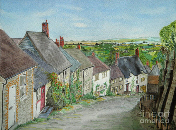 Gold Hill Shaftesbury Art Print featuring the painting Gold Hill Shaftesbury by Yvonne Johnstone