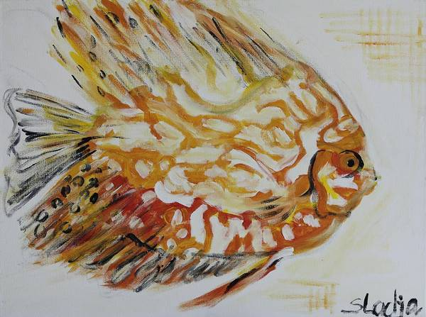 Fish Art Print featuring the painting Golden by Sladjana Lazarevic