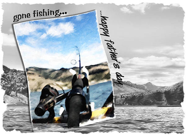 Father's Day Art Print featuring the digital art Gone Fishing Father's Day Card by Susan Kinney