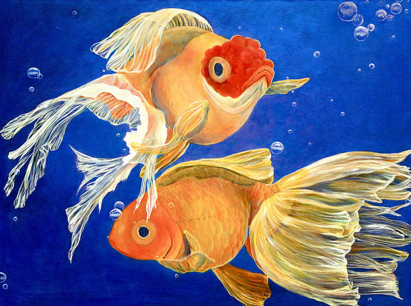 Goldfish Art Print featuring the painting Good Luck Goldfish by Samantha Lockwood