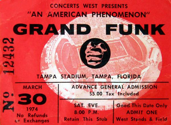 grand funk 1974 concert ticket art print by david lee thompson. Black Bedroom Furniture Sets. Home Design Ideas