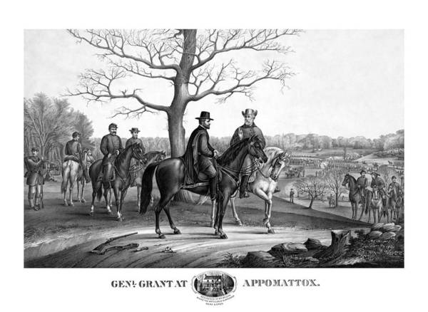 General Grant Art Print featuring the mixed media Grant And Lee At Appomattox by War Is Hell Store
