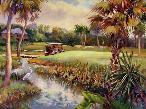 Landscape Art Print featuring the painting Great Day For Golf by Dianna Willman
