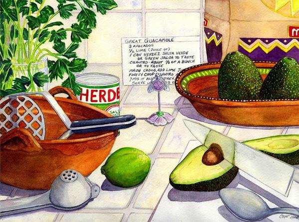 Guacamole Art Print featuring the painting Great Guac. by Catherine G McElroy