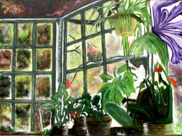 Flowers Art Print featuring the painting Green House by Xavier Carter