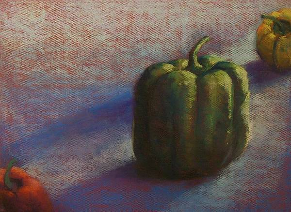 Pepper Art Print featuring the pastel Green Pepper by Tom Forgione