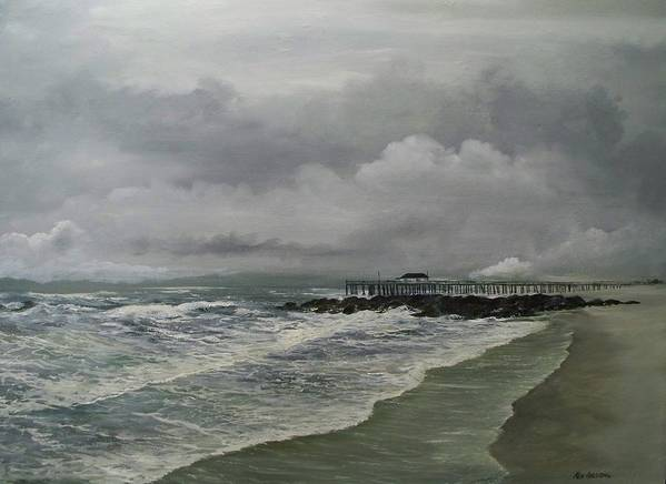 Seascape. Ocean Art Print featuring the painting Grey Day At Ocean Grove by Ken Ahlering