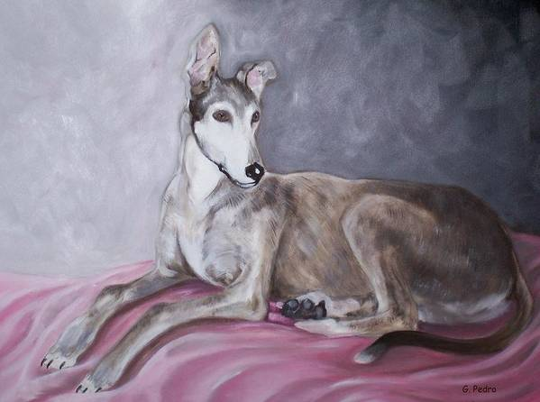 Greyhound Art Print featuring the painting Greyhound At Rest by George Pedro