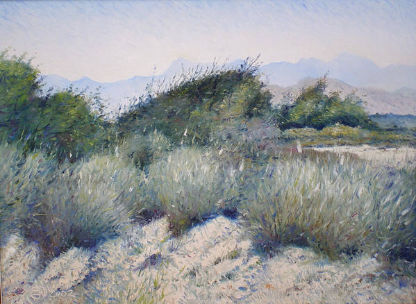 Oman Landscapes Art Print featuring the painting Hajar Mountains Oman 2002 by Enver Larney
