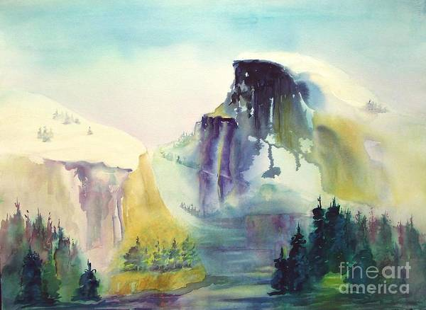 Mountains Art Print featuring the painting Half Dome Yosemite by Maryann Schigur