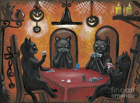 Print Art Print featuring the painting Halloween Hold Em by Margaryta Yermolayeva
