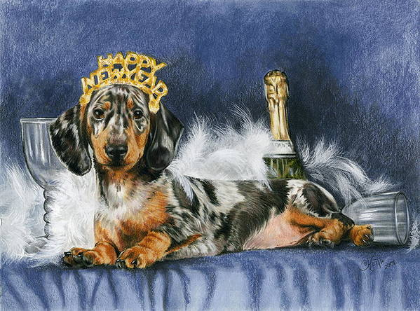 Dog Art Print featuring the mixed media Happy New Year by Barbara Keith