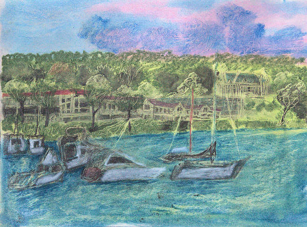 Long Island Art Print featuring the drawing Harbor At Halesite by Don Schaeffer