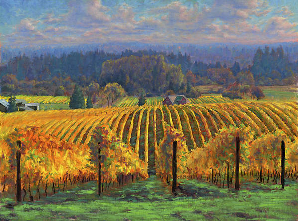 Vineyard. Wine Art Print featuring the painting Harvest Gold by Michael Orwick