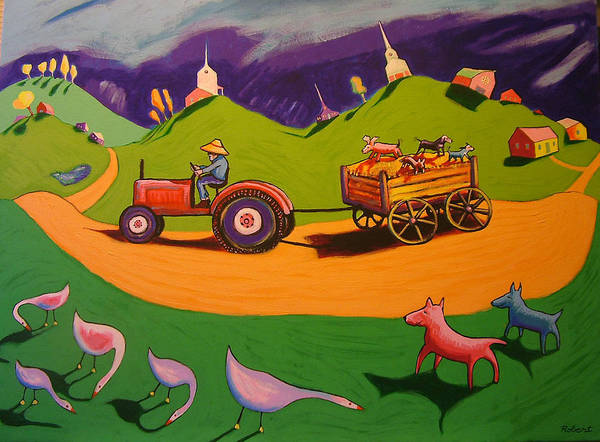 Farm Landscape With Dogs Art Print featuring the painting Hayride by Robert Tarr