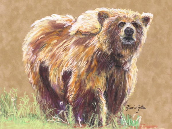 Alaskan Animal Art Print featuring the painting Healthy Brown Bear by Gloria Smith