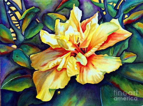 Floral Art Print featuring the painting Heart Of Fire by Gail Zavala