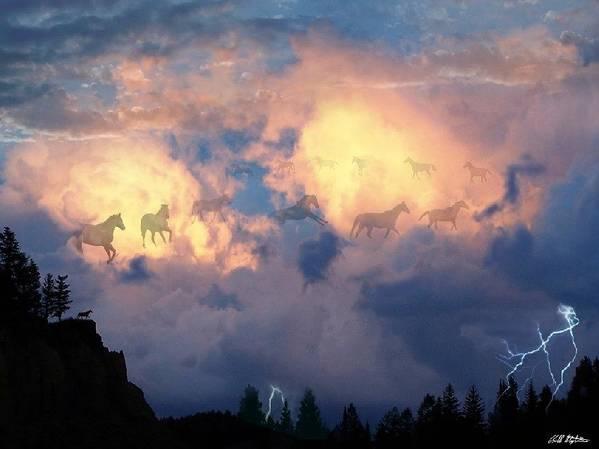 Horses Art Print featuring the digital art Heavenly Carousel by Bill Stephens