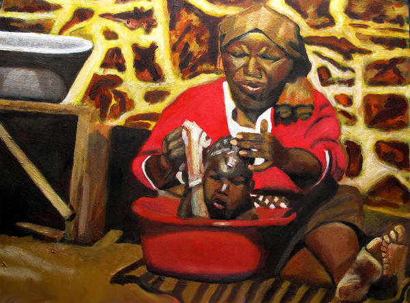 Lesotho Grandmother Child Wash Tub Art Print featuring the painting Help Lesotho Grandmother by Keith Bagg