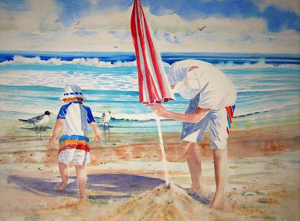 Beach Art Print featuring the painting Helping Dad Set Up The Camp by Tom Harris