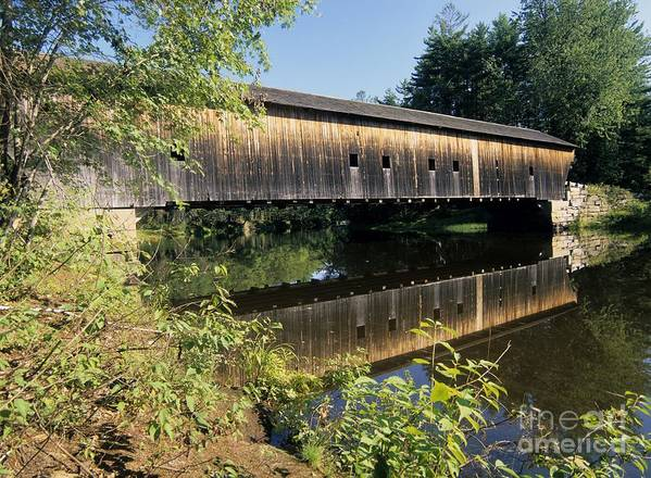 Covered Bridge Art Print featuring the photograph Hemlock Covered Bridge - Fryeburg Maine Usa. by Erin Paul Donovan