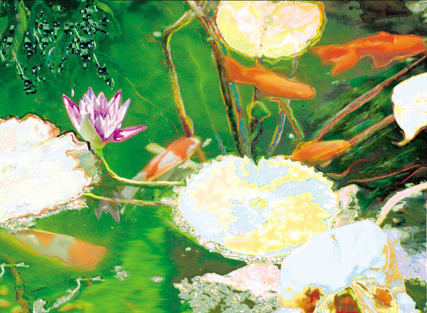 Koi Art Print featuring the photograph Hide And Seek Kio In The Green Pond by Judy Loper