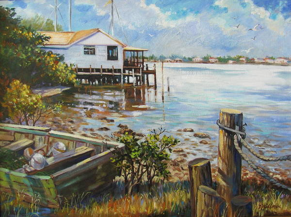 Old Rowboat Art Print featuring the painting High And Dry by Dianna Willman