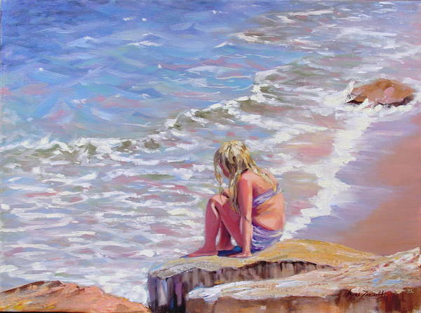 Oil Painting Art Print featuring the painting High Tide by Laura Lee Zanghetti