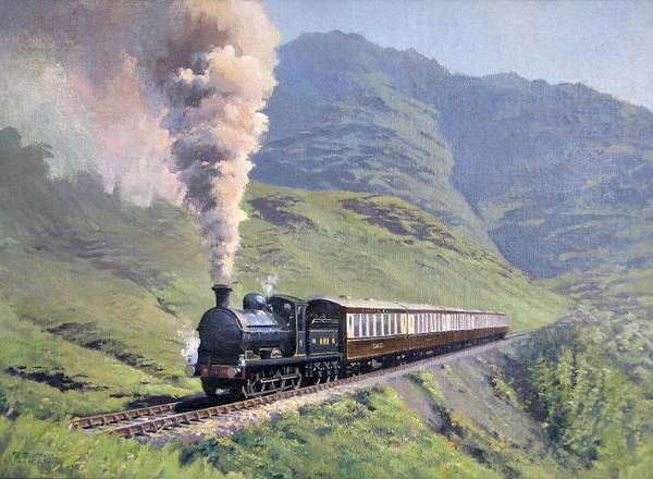 Steam Art Print featuring the painting Highland Steam by Richard Picton