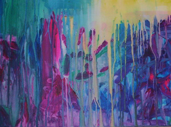 Abstract Art Print featuring the painting Holding On by Moby Kane