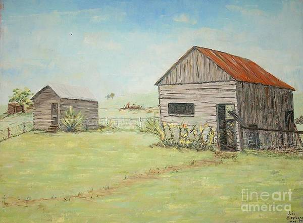 2 Small Sheds; Light Green Yard; Old Buildings Art Print featuring the painting Homeplace - The Smokehouse And Woodhouse by Judith Espinoza