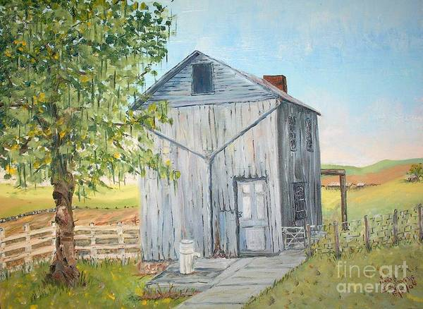Old Gray Building Beside Green Tree; 2 Kinds Of Fence Art Print featuring the painting Homeplace - The Washhouse by Judith Espinoza