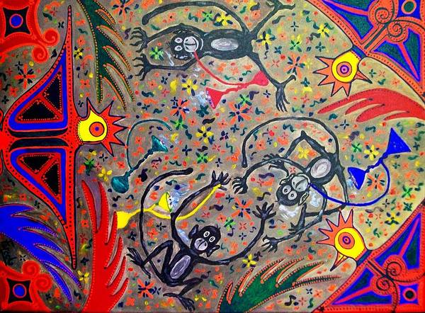 Contemporary Folk Art Art Print featuring the painting Hookah Monkeys - Jinga Monkeys Series by Fareeha Khawaja